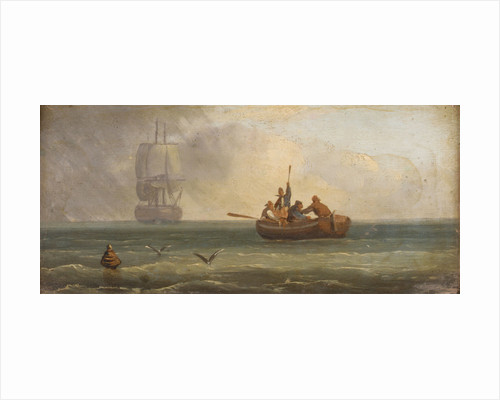 Four sailors in a ship's boat by Sands