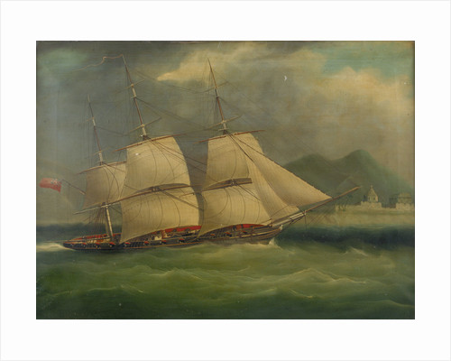 A sloop-of-war close-hauled in a breeze by British School