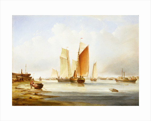 A harbour scene with fishing boats by Edward William Cooke