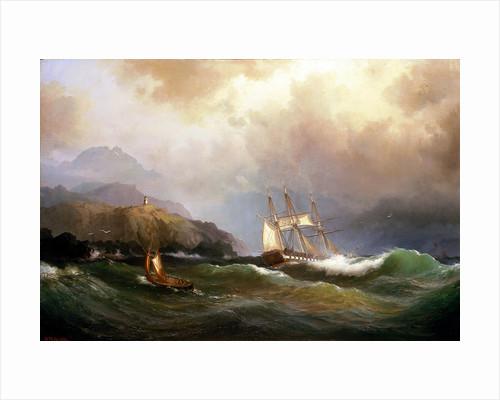 A frigate clawing off a rocky coast by Vilhelm Melbye