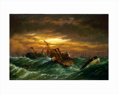 Shipwreck with a paddle tug towing a lifeboat in a gale by Richard Henry Nibbs