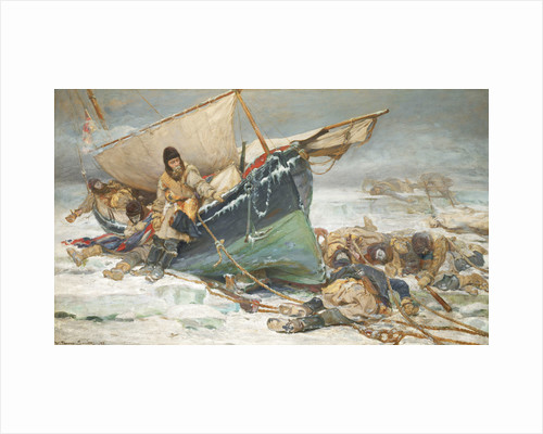 Sir John Franklin dying by his boat during the North-West Passage expedition of HMS 'Erebus' and 'Terror' by W. Thomas Smith