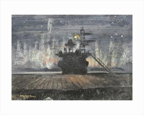 HMS 'Pursuer': view of an island against the Aurora Borealis by Stephen Bone
