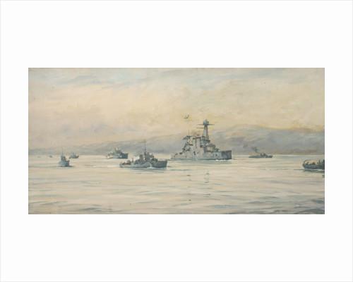 The Greek cruiser 'Averoff' and escorts by Rowland John Robb Langmaid