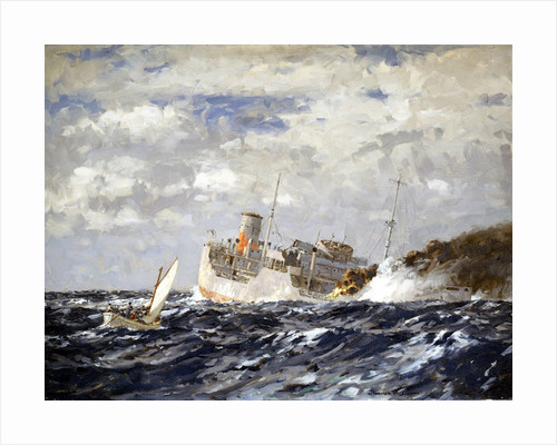 The 'San Demetrio' at the Jervis Bay action, 5 November 1940 by Norman Wilkinson