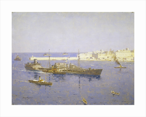 The 'Ohio' entering Malta, 14 August 1942 by Norman Wilkinson