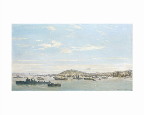 Battleships at Falmouth, 1940 by Charles Ernest Cundall