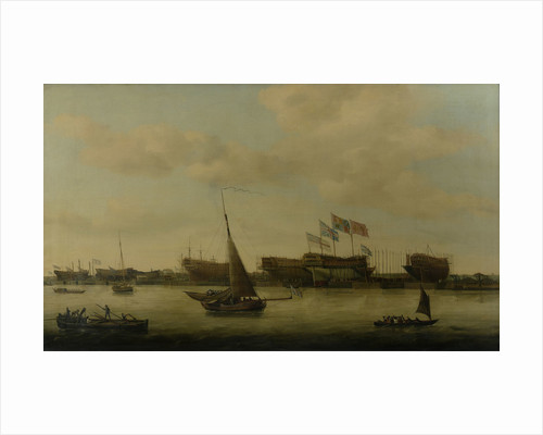 Launch of the 'Venerable', 74 guns, at Blackwall, 1784 by Francis Holman