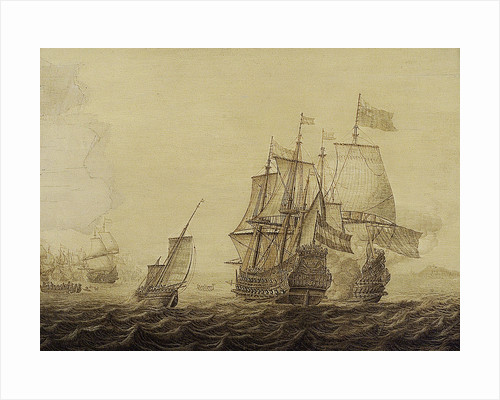 Action between Dutch and English ships by Heerman Witmont