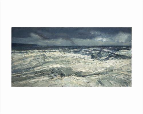 Rain, rainbow and stormy seas by Peter Godfrey Coker