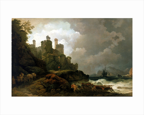 A fishing boat brought ashore near Conway Castle by Philippe-Jacques de Loutherbourg