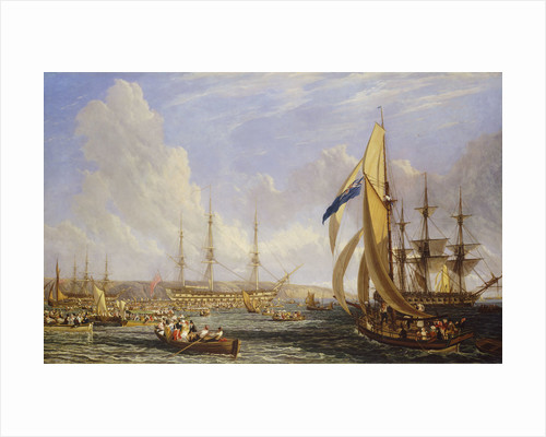 Scene in Plymouth sound in August 1815 by John James Chalon