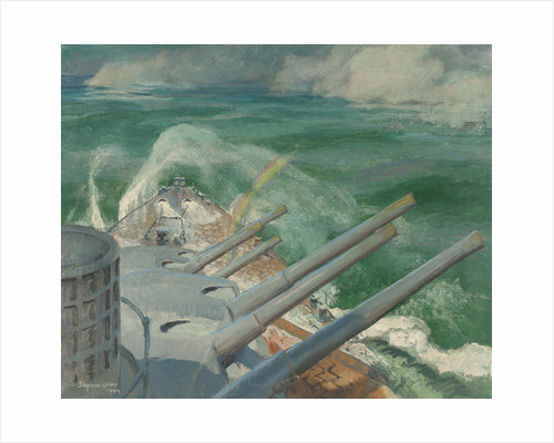 HMS 'Mauritius' on full speed trial by Stephen Bone