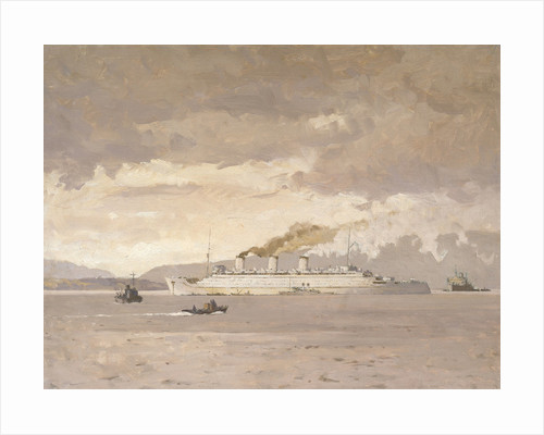 The passenger liner 'Queen Mary' raising steam by Norman Wilkinson