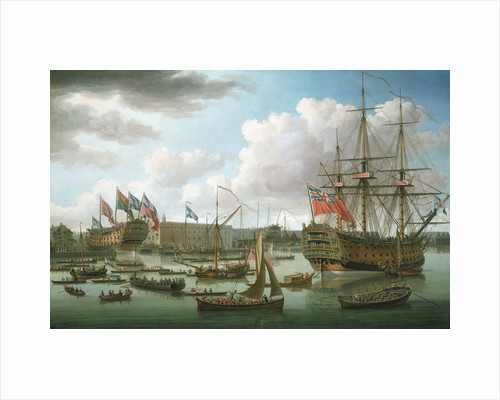 The 'Royal George' at Deptford showing the launch of 'The Cambridge' by John Cleveley