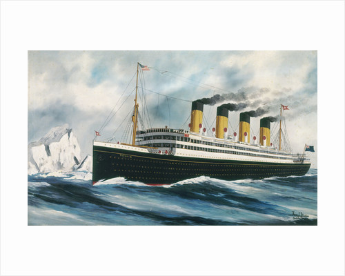 Passenger liner 'Titanic' (1912) under way in the North Atlantic, passing icebergs by Harry J. Jansen