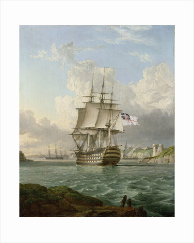 HMS 'Britannia' leaving a Mediterranean harbour by Robert Strickland Thomas