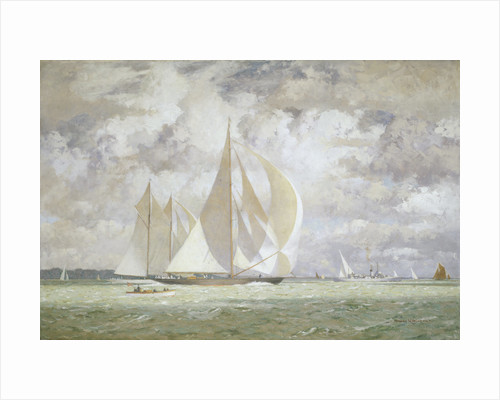 HMY 'Britannia' racing the yacht 'Westward' in the Solent, 1935 by Norman Wilkinson