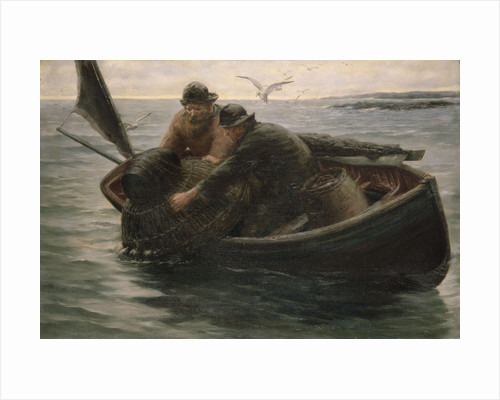 Hauling in the lobster pot by Herbert E. Butler