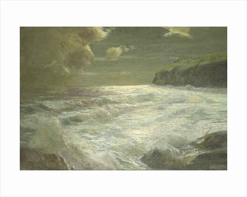 A coastal view with a lighthouse by Julius Olsson