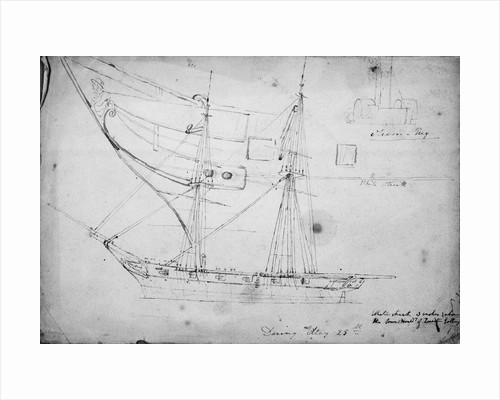Sketch of sailing vessel 'Daring' and detail of her figurehead by Thomas Robert Strickland