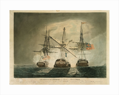 'Le Droits de L'Homme', a French 74 gun ship, ... attacked by his Majesty's frigates the 'Indefatigable' & the 'Amazon' on the 13th & 14th January 1797 by Robert Dodd