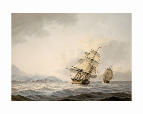 'Resolution' and 'Discovery' off the coast of Tahiti by Samuel Atkins