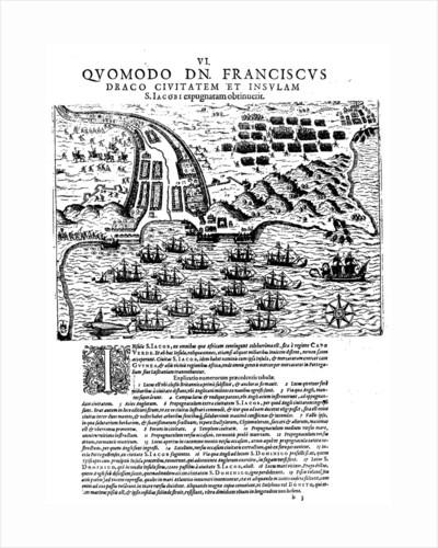 Attack on Santiago, 27 November 1585 by Theodore de Bry