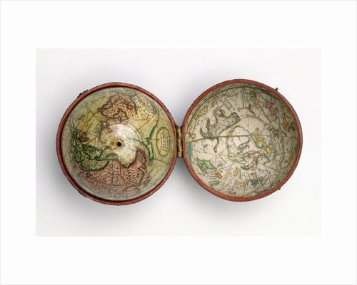 Terrestrial and celestial pocket globe by Dudley Adams