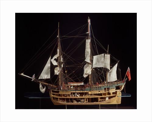 HM bark 'Endeavour', starboard broadside, revealing hull inside by Robert A. Lightley