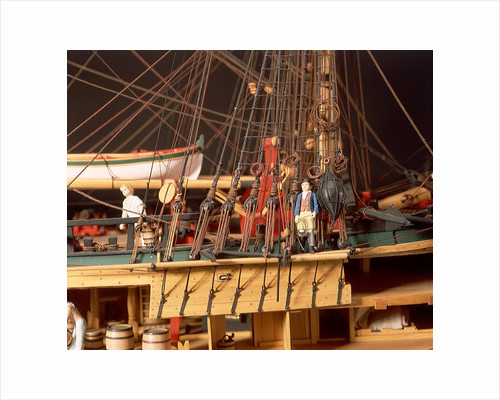 'Endeavour', detail, foremast starboard shrouds and anchors by Robert A. Lightley