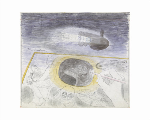 Submarine Series: submerged submarine, also showing a sailor at the wheel and a diving helmet by Eric Ravilious