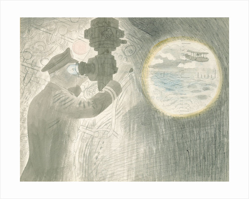 Submarine Series: Officer viewing through periscope by Eric Ravilious