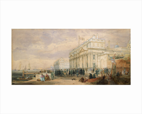 Greenwich Hospital, showing buildings and Greenwich pensioners by James Holland