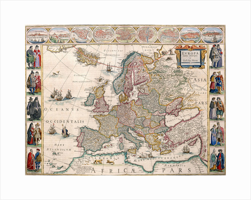Map of Europe from the Blaeu Atlas, 17th century by John Blaeu