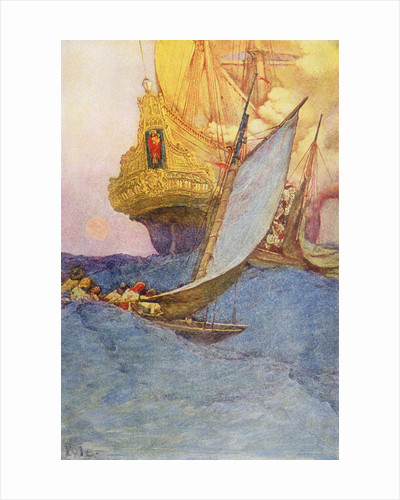 Pirates approach a treasure ship by Howard Pyle