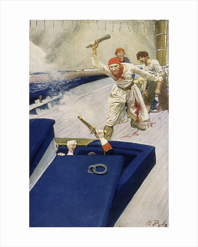 A pirate attack through the hatch of a ship by Howard Pyle