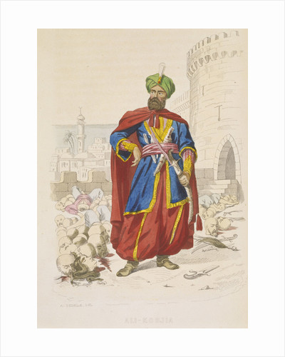 Ali Khoja, ruler of Algiers 1816-1818, resplendent in a green turban and wearing a fine sword, is surrounding by the severed heads of vanquished enemies after the bombardment of 1816 by A. Catel