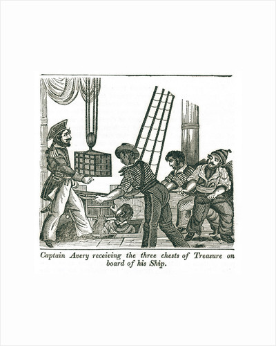Captain Henry Avery loads treasure chests onto his ship by unknown