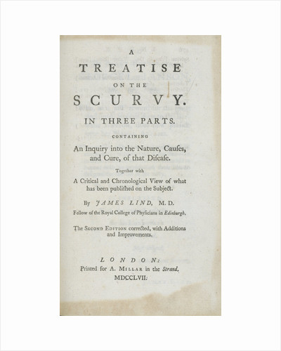 'A Treatise on the Scurvy' frontispiece by unknown
