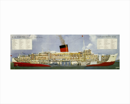 Cunard White Star Line Poster, cross section of Caronia by unknown