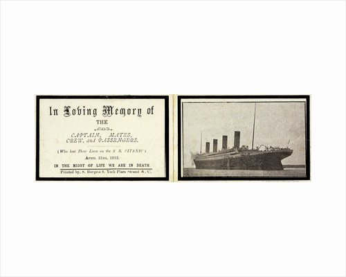 Memorial card for 'Titanic' (1912) by S Burgess