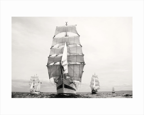 'Shabab Oman', 'Mir' and 'Roald Amundsen' crossing the start line at Port Rush for the first leg of the 2008 Liverpool Tall Ships Race to Maløy in Norway by Richard Sibley