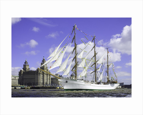 Mexican 3 masted barque 'Cuauhtémoc', passing the Royal Liver Building during the parade of sail, Mersey River, Liverpool Tall Ships Race 2008 by Richard Sibley