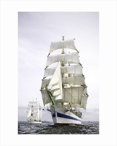 The Russian full-rigged ship 'Mir' with 'Shabab Oman' to starboard, off Port Rush for the first leg of the 2008 Liverpool Tall Ships Race to Maløy in Norway by Richard Sibley