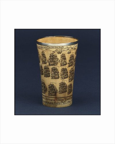 Horn beaker commemorating the Battle of Trafalgar, 1805 by Nathaniel Spilman