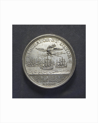 Medal commemorating the departure of King Charles III of Spain for Portugal, 1703; reverse by J. Boskam