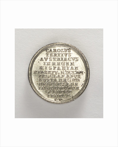 Counter commemorating the arrival of King Charles III in Portugal, 1703; reverse by C. Wermuth