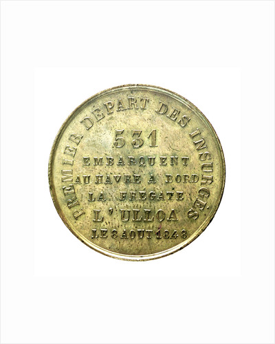 Counter commemorating the embarkation of the insurgents at Le Havre, 1848; reverse by unknown