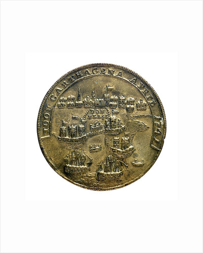 Medal commemorating Admiral Edward Vernon (1684-1757) and Admiral Sir Chaloner Ogle (1681?-1750), the attack on Cartagena, 1741; reverse by unknown